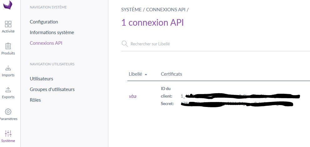 Création de la clé pour l'API Akeneo